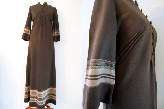 60s Brown Maxi Dress w/ Gold Shimmering Folk Stripes and 3/4 Sleeves by Oravais Finn Jersey, S-M // Vintage Hippie Day Dress