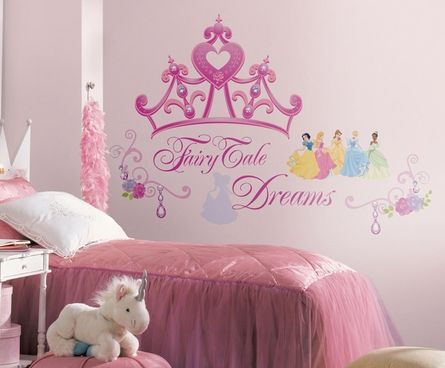 "Disney Princess Crown Giant Peel & Stick Wall Decal  A bit too ""cutesy"" for me, but I know a girl who would like it. I'm just afraid it won't ""grow' with her."