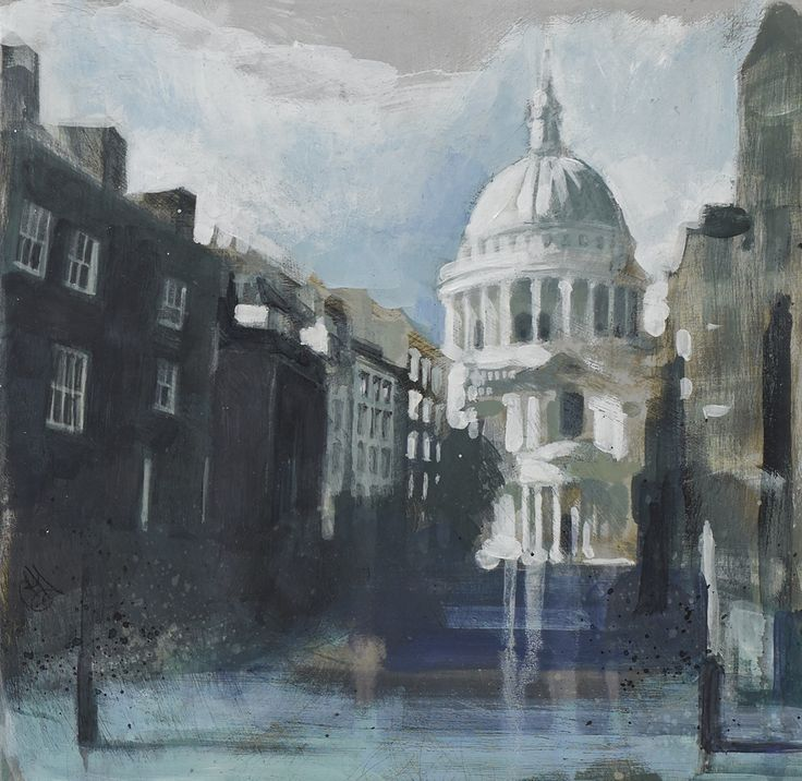 Camilla Dowse St Pauls from Peter's Hill (Study) Acrylic on gesso board 7.87 x 7.87ins (20 x 20cm) £450