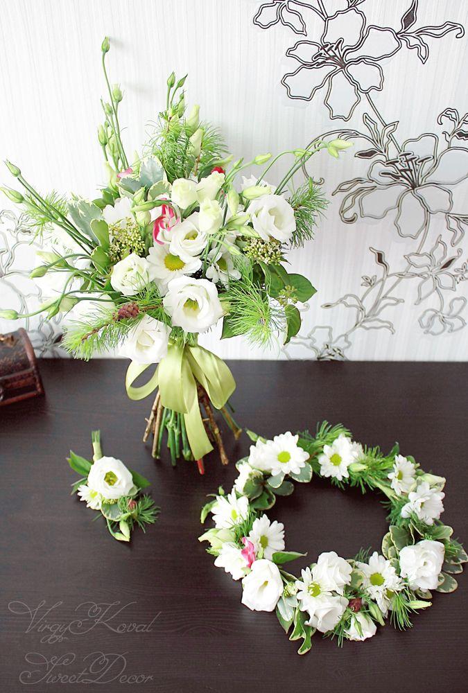 flower crown, wedding boquet, boutonniere. white lisianthus, chrysanthemum, larch