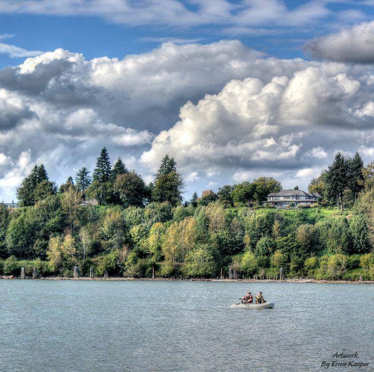 Beautiful Fraser River along Derby Reach near Fort Langley.