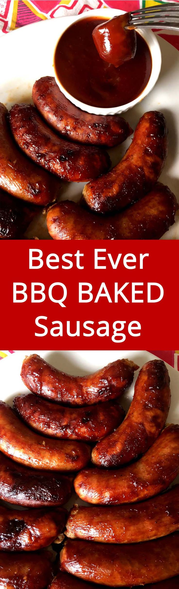 This BBQ baked sausage is always a hit! Super easy to make, I love this recipe! Everyone begs me to make it all the time!