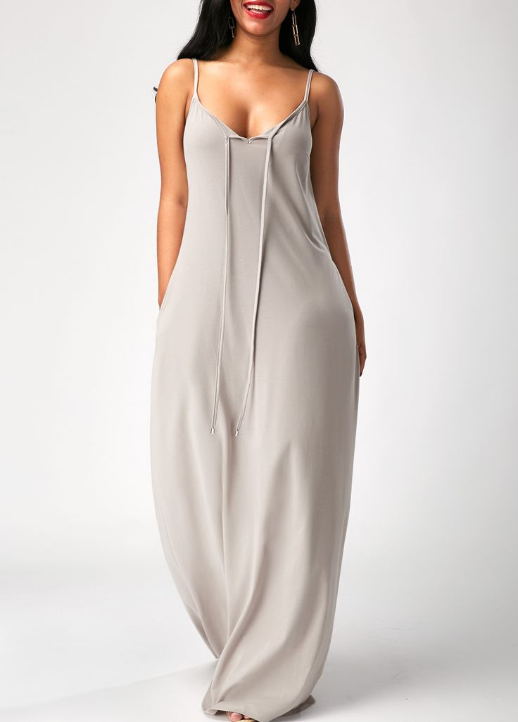 Spaghetti Strap Pocket Grey Maxi Dress on sale only US$33.95 now, buy cheap Spaghetti Strap Pocket Grey Maxi Dress at liligal.com