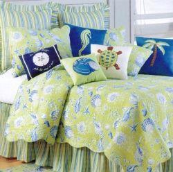 Tropical Beach Seashell Green and Blue Decorative Throw Pillows