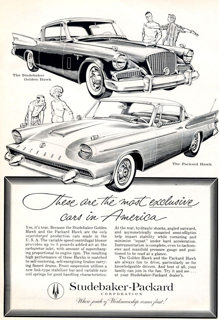 1958 studebaker and packard hawks advertisement from road track magazine april this dates from the period of the short lived merger between the two as