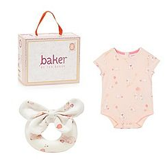 Baker by Ted Baker - Baby girls' pink bunny print bodysuit and bow rattle in a gift box