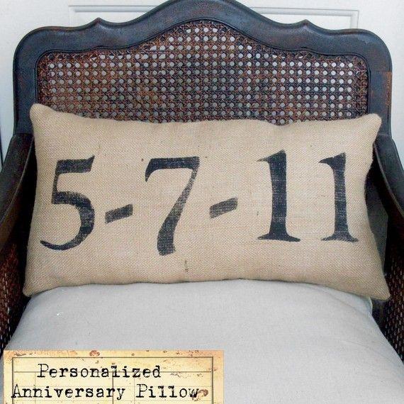 Burlap Anniversary Pillow