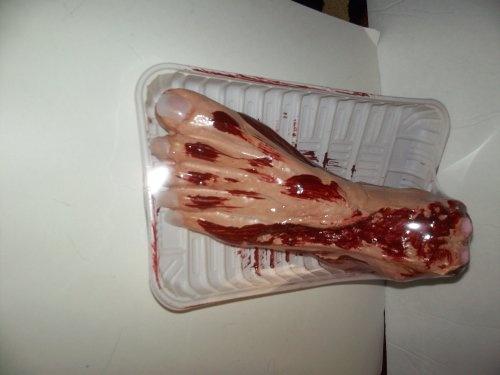 bloody foot on 10 inch platter halloween decoration - Bloody Halloween Decorations