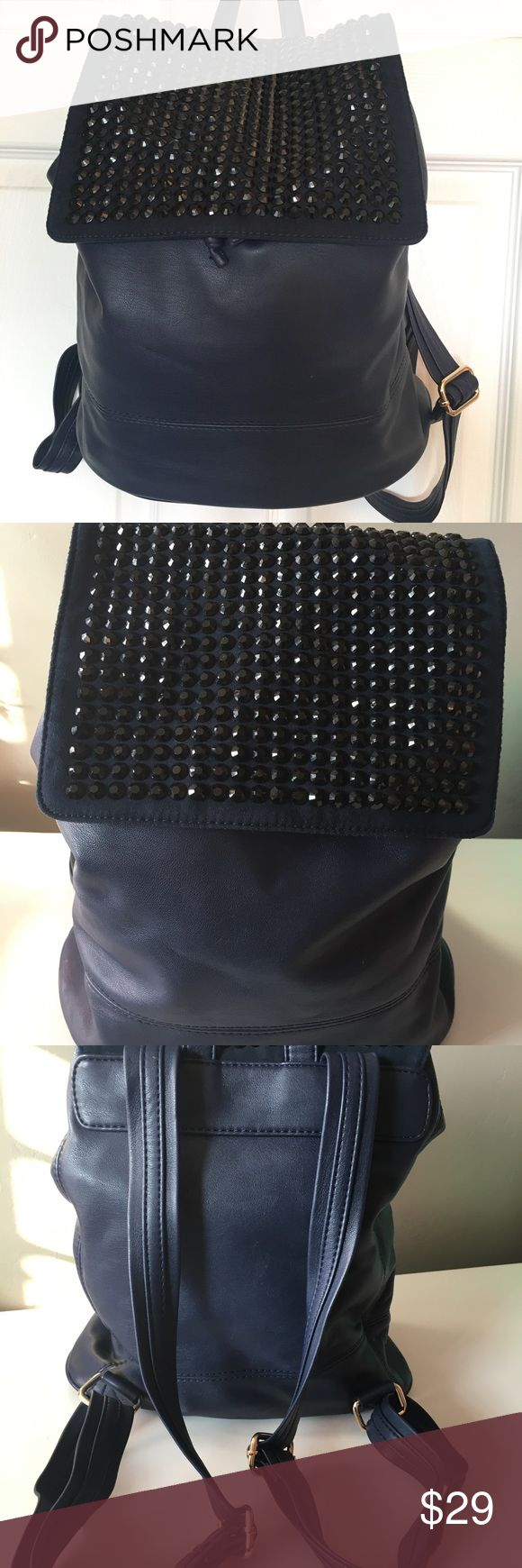 Deux Lux Rhinestone Studded Backpack Navy Blue Gorgeous midnight blue studded backpack by Deux Lux. If you know this brand they always have the best quality vegan leather items. This looks great to add an edge to your look. Excellent condition! Deux Lux Bags Backpacks