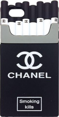 "Chanel Black White ""Cigarette Pack"" Soft Rubber iPhone 6/6s + Plus Case"