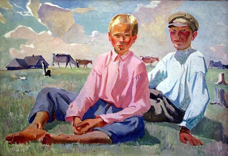 Дейнека Александр Александрович (1890-1960) «Деревенские ребята» 1937