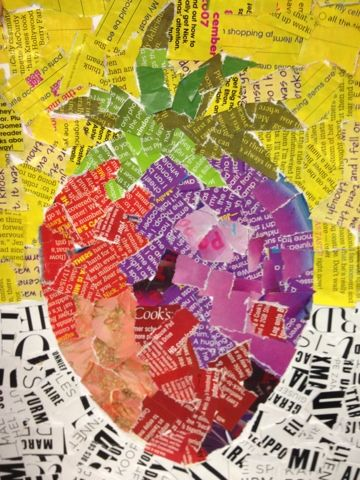 Fruitcollage van gescheurde stukjes papier uit tijdschriften