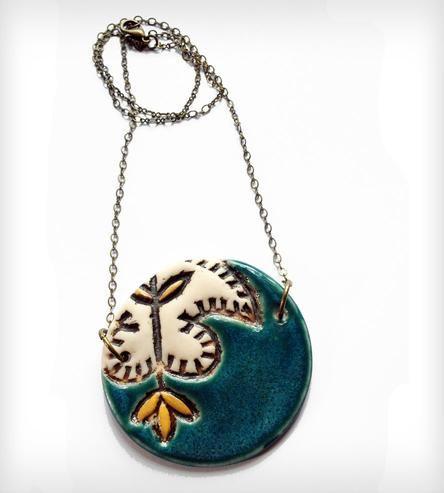 Batik Round Pendant Necklace | Jewelry | Olaria Studio | Scoutmob Shoppe | Product Detail