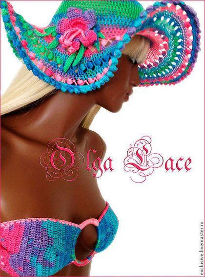 Купить или заказать Вязаный купальник, туника и шляпа из коллекции 'Flowers' в интернет-магазине на Ярмарке Мастеров. Красивый и яркий комплект для пляжного отдыха. Купальник, туника которую можно носить как юбку- парео и шляпка от солнца.