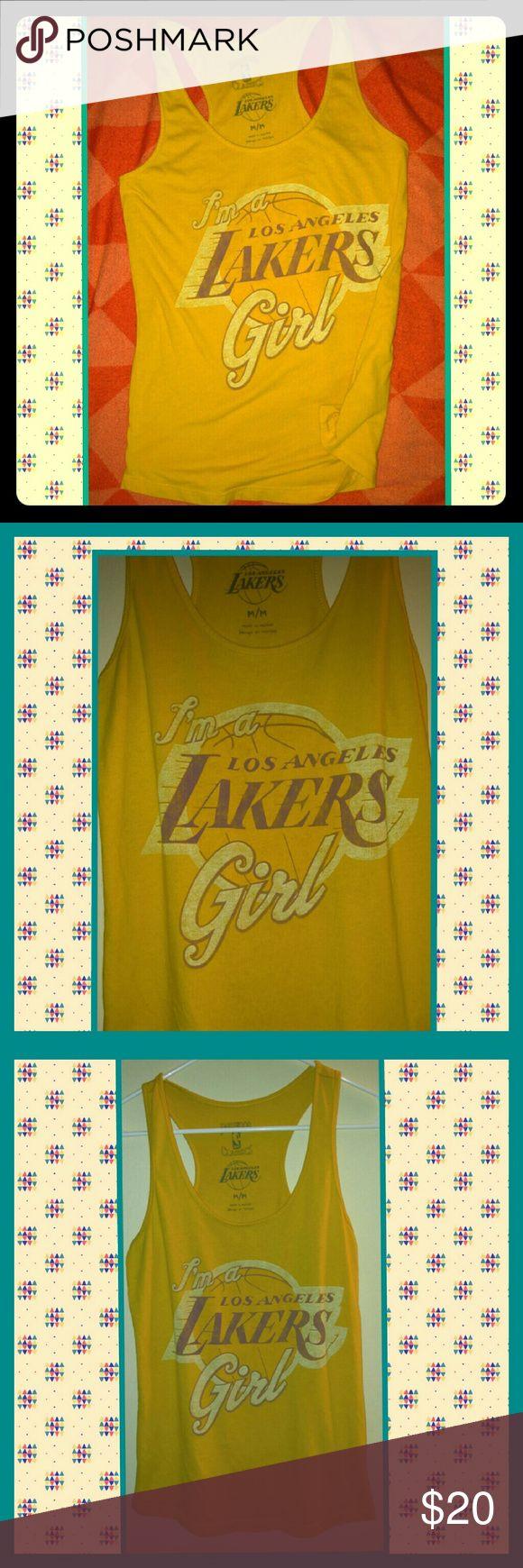 Lakers girl tank medium Worn a few times retro Lakers girl tank racerback style. hardwood classics nba Tops Tank Tops
