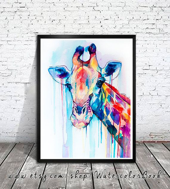 Giraffe watercolor painting print , animal, illustration, animal watercolor, animals paintings, animals, portrait, Giraffe art