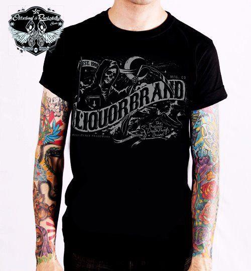 Liquor Brand T-Shirt Death Banner.Tattoo,Biker,Oldschool,Rockabilly,Custom Style