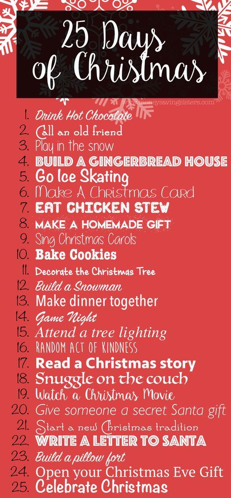 "December will be here before you know it! As you are preparing your new Christmas traditions this year, I wanted to share with you a little something called the ""25 Days of Christmas Activities"". Fun holiday activities for you to enjoy with your entire family! Drink Hot Chocolate Call an old friend Play in the … Read more..."