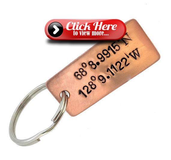 Copper Coordinate Keychain Couples Keychain Boyfriend Gift Coordinate Anniversary Date 7 Year Anniversary Gift 1st anniversary gift