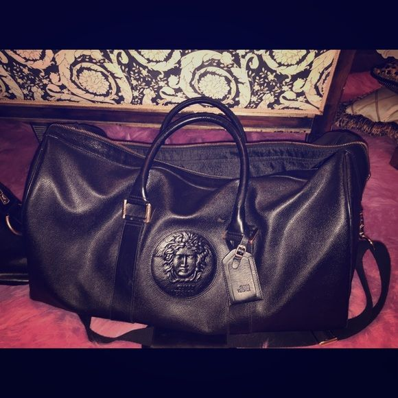Versace duffle bag large black and gold hardware 100. % authentic guaranteed Versace Bags Travel Bags