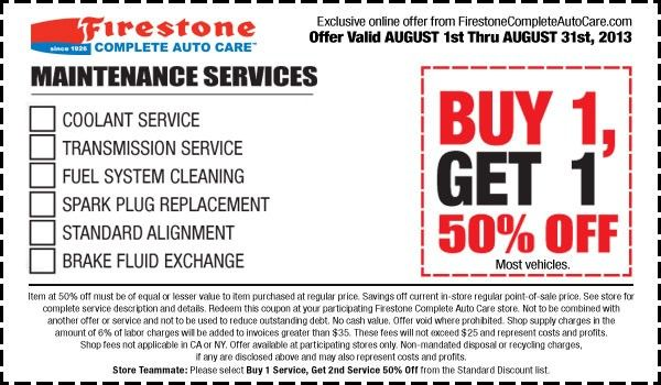 Discount coupons for oil change at firestone