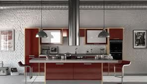 Industrial feel burgundy gloss kitchen