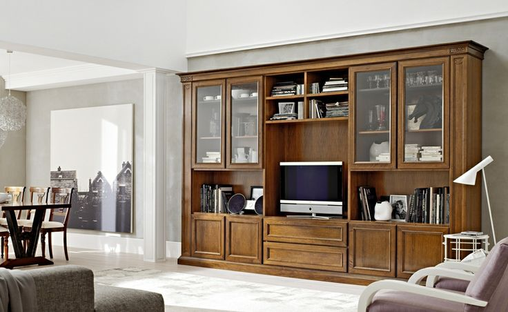 Composizione 1 - I Lauri | Classic Collections Le Fablier | Modular system | Measures in cm (LxDxH)  375x52x241 | Structure in walnut | Available with doors with inserts