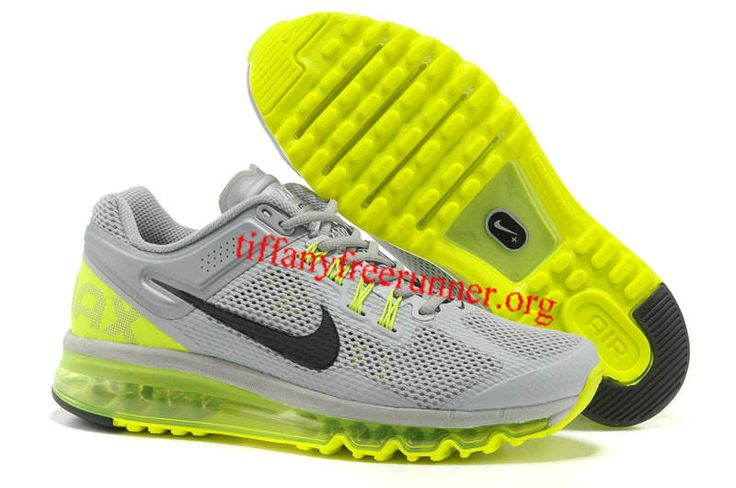 Mens Nike Air Max 2013 Silver Grey Fluorescence Green Shoes