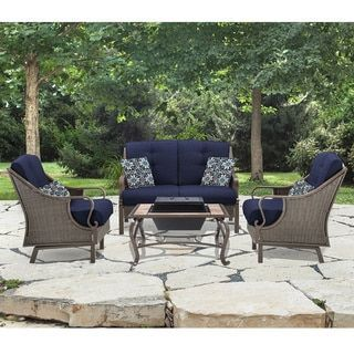 Shop for Hanover Outdoor Ventura Navy Blue Aluminum 4-piece Conversation Set with Wood-Burning Fire Pit. Get free delivery at Overstock.com - Your Online Garden