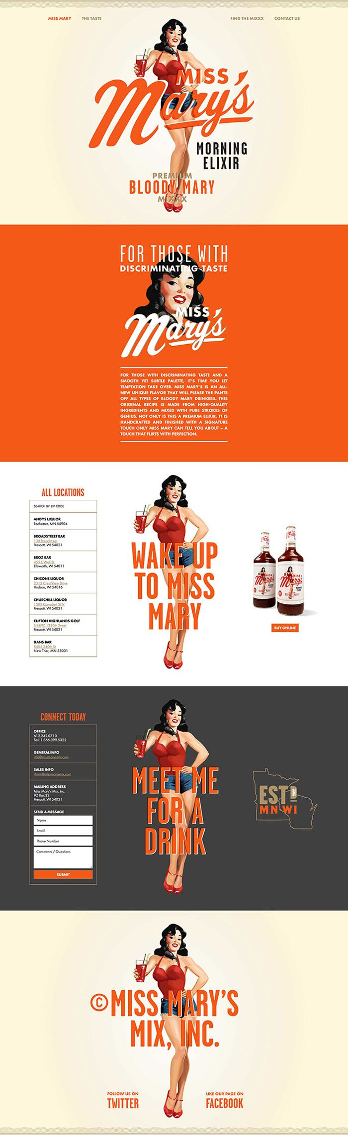 Client: Miss Mary's Mix Agency: Brandon Van Liere Designer: Brandon Van Liere Illustrator: Joel Herrera Code: Cory Etzkorn Bottle Photography: Dave Marrkley; Periscope