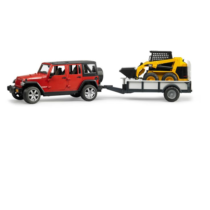 Bruder Toys Jeep Wrangler Rubicon 329 with Trailer and Skid Steer Loader - 1/16 Scale Realistic, Functional Toy Construction Vehicle