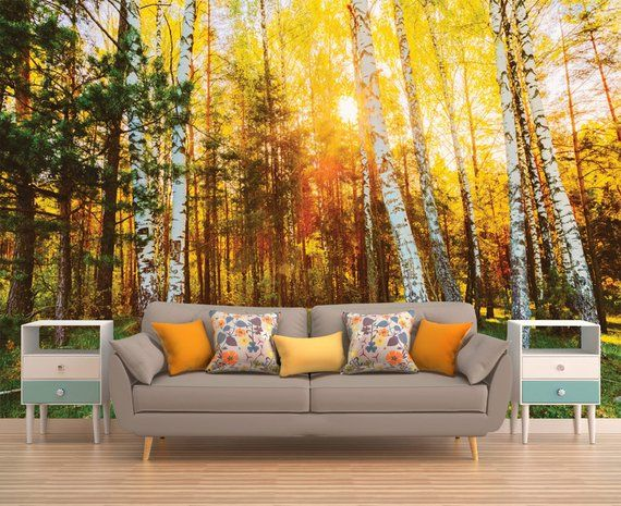 Revamp Your Walls With A Stunning Photo Wall Mural Thank You For Visiting My Item If You Have Any Questio Tree Wall Murals Forest Wall Mural Forest Wallpaper