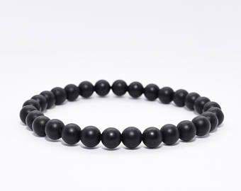 Black Onyx Bracelet. Boho Jewelry. Minimalist Men Bracelet. Strength Bracelet. Men's Black Bracelet. Gift for men.