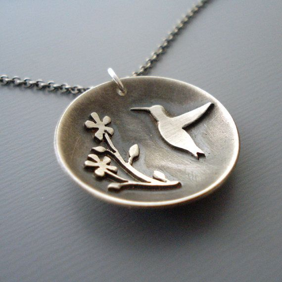 Silver Hummingbird Necklace  Flower Motif  Nature by lisahopkins