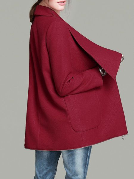 Wine Red Pockets Simple Trench Coat