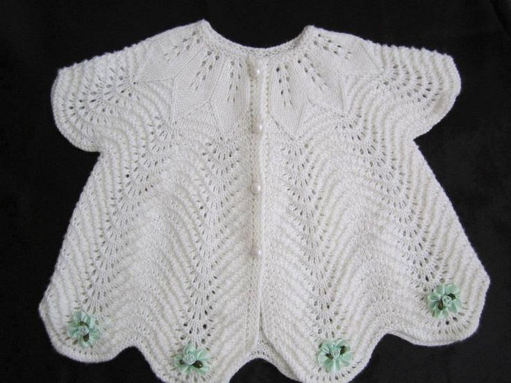 Leaf patterned yoke and Old Shell lace on this adorable vest ~~ bebek yeleği
