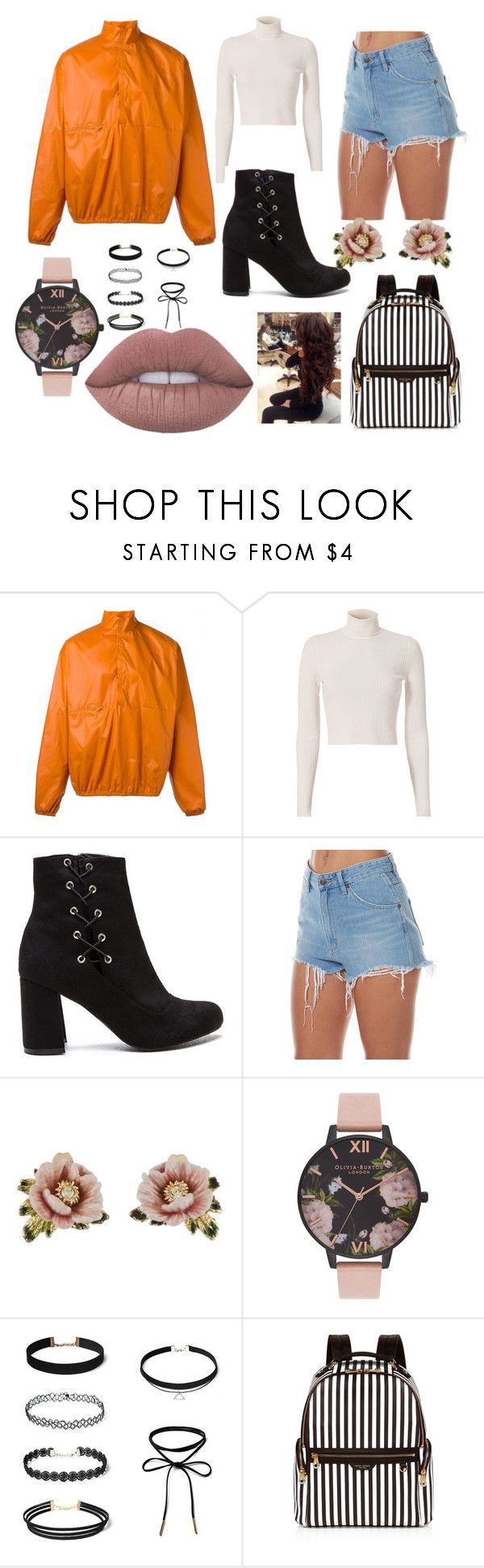 """""""Day Play"""" by terrelljaquanisha ❤ liked on Polyvore featuring Yeezy by Kanye West, A.L.C., Wrangler, Les Néréides, Olivia Burton and Henri Bendel"""