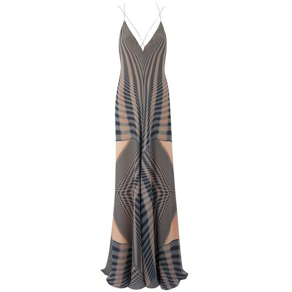 Amanda Wakeley Beam Copper  Denim Printed Dress (16.582.160 IDR) ❤ liked on Polyvore featuring dresses, brown, cocktail, lining dress, amanda wakeley dresses, brown dresses, abstract print dress and slip dress