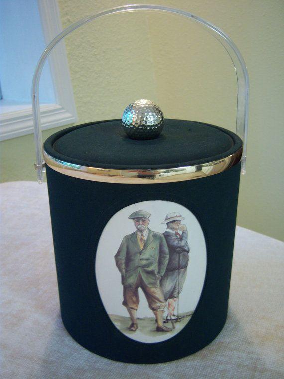 Vintage golf theme ice bucket/Bar ware/Golf collectible/Vintage golf display piece