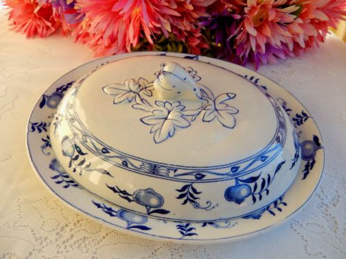 Beautiful Antique Furnivals English Ironstone Covered Meat Platter ~ Blue Onion