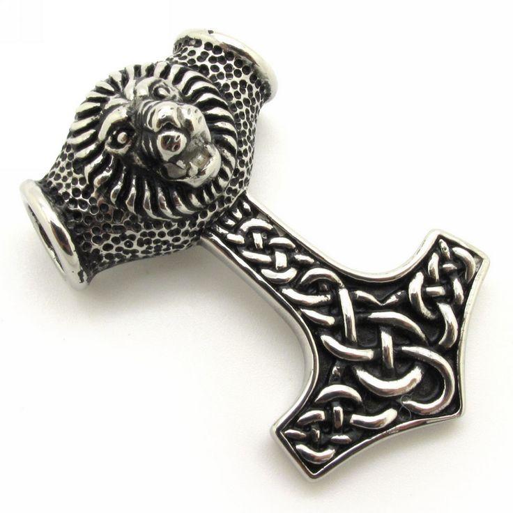 Винтажный черный реалистичные лев кулон, Нержавеющая сталь ротанг Hammerfall кулон мужчины подарок