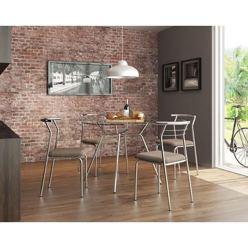 Mesa 1527 Cromada Com Vidro Incolor Com 4 Cadeiras Cromadas Cacau - Carraro            LOJA MOBILISTORE