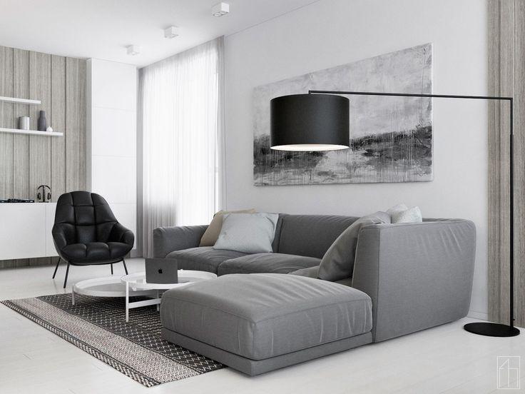 """Проект квартиры """"Quite Music"""".Выполнен для молодой семьи,которая ценит хорошую музыку и уют. Общая площадь- 105,7 м.кв.  Угловой диван."""