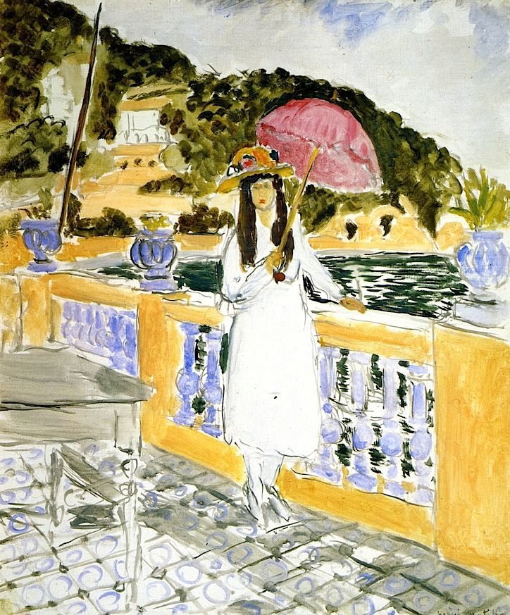 Henri Matisse - On the Terrace, Girl with Pink Umbrella, 1919