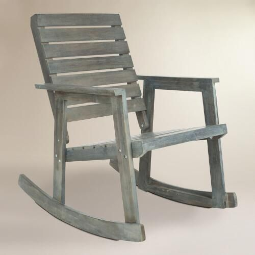 One of my favorite discoveries at WorldMarket.com: Ash Gray Wood Outdoor Rocking Chair