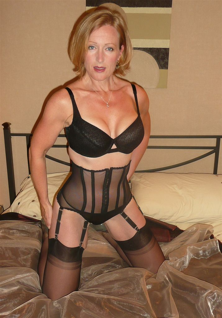 Milf in stockings black girdle