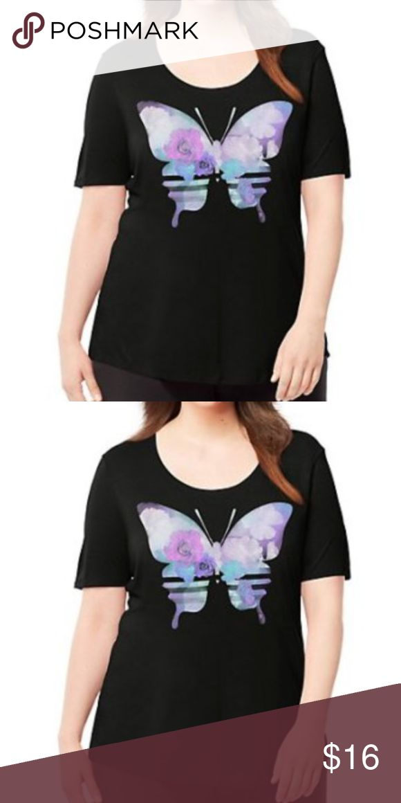 NEW Just My Size Hanes Tee 4X Short Sleeve Black Just My Size by Hanes ~ Ladies Butterfly Graphic T-Shirt ~ Women's Plus Size 4X ~Black with Butterfly Graphic on Front ~ Short Sleeve ~ Scoop Neck ~ Graphic Tee Super-soft fabric blend feels fabulous, drapes like a dream  60% rayon/40% polyester Refined tonal topstitching trims wide, feminine scoop-neck Fabric-taped back neck resists rip-out and stretch-out Roomy A-line design skims your curves without clinging Flattering hip-skimming length…