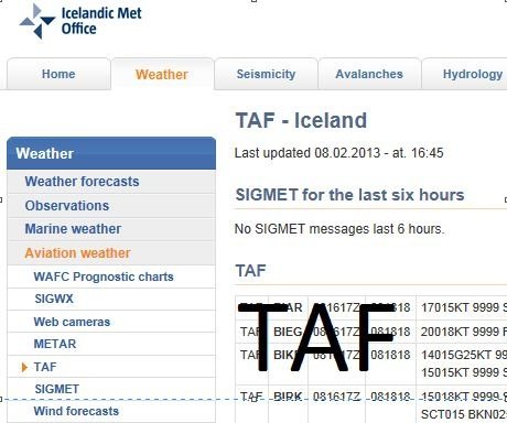 Terminal Area Forecast (TAF)