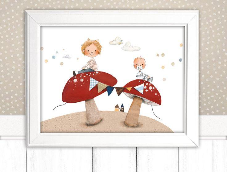 """Bilder - Kinderbild """"Geschwister"""" Kinderzimmer (Poster) - ein Designerstück von pipapier bei DaWanda"""