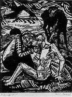 Der Bahrmherziger Samariter - Blatt 1 Räuber (Erich Heckel, 1915, Brücke Museum; Berlin)